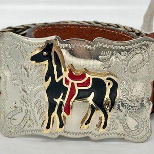 Tony Lama Vintage Belt Silver Nickel Buckle w/ 3D